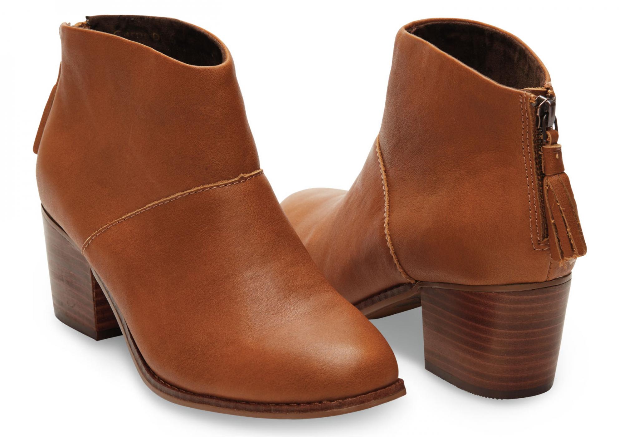 53d9f2e231 Hnedé dámske kožené členkové topánky TOMS Leila Bootie