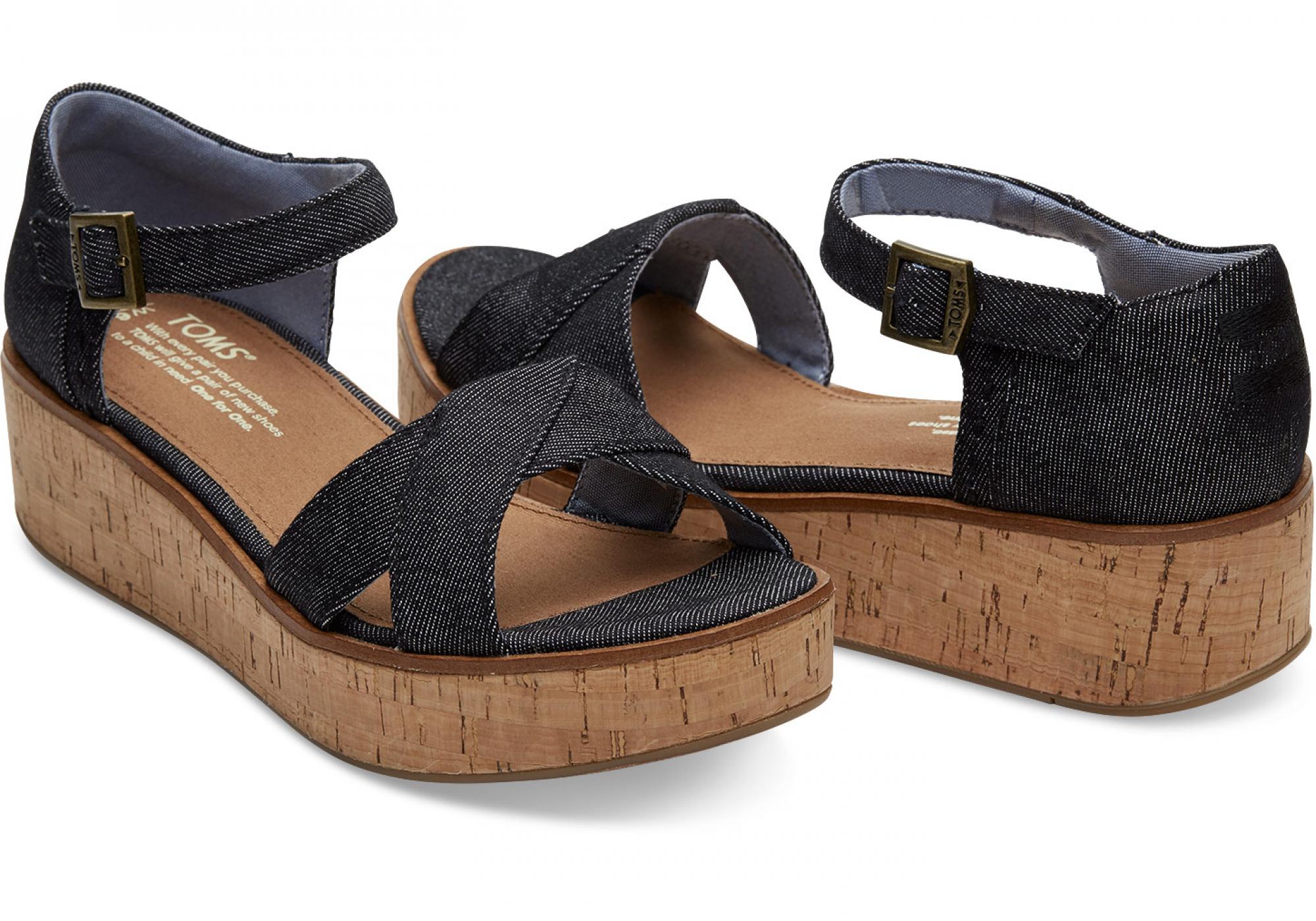 99cd239ade5c Dámske čierne sandálky na platforme TOMS Denim Harper