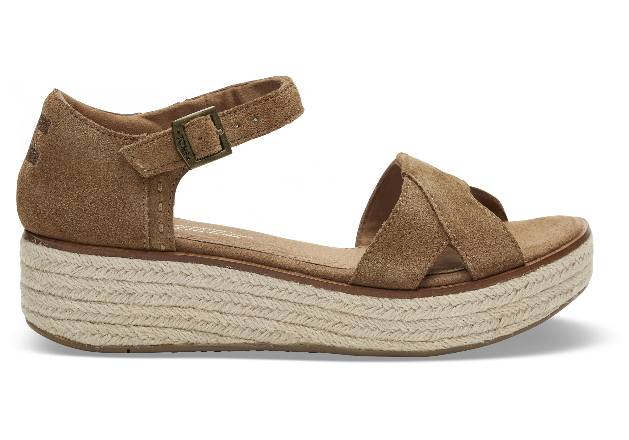 89143b53d1782 dámské hnědé sandálky na platformě TOMS Suede   Urbanlux