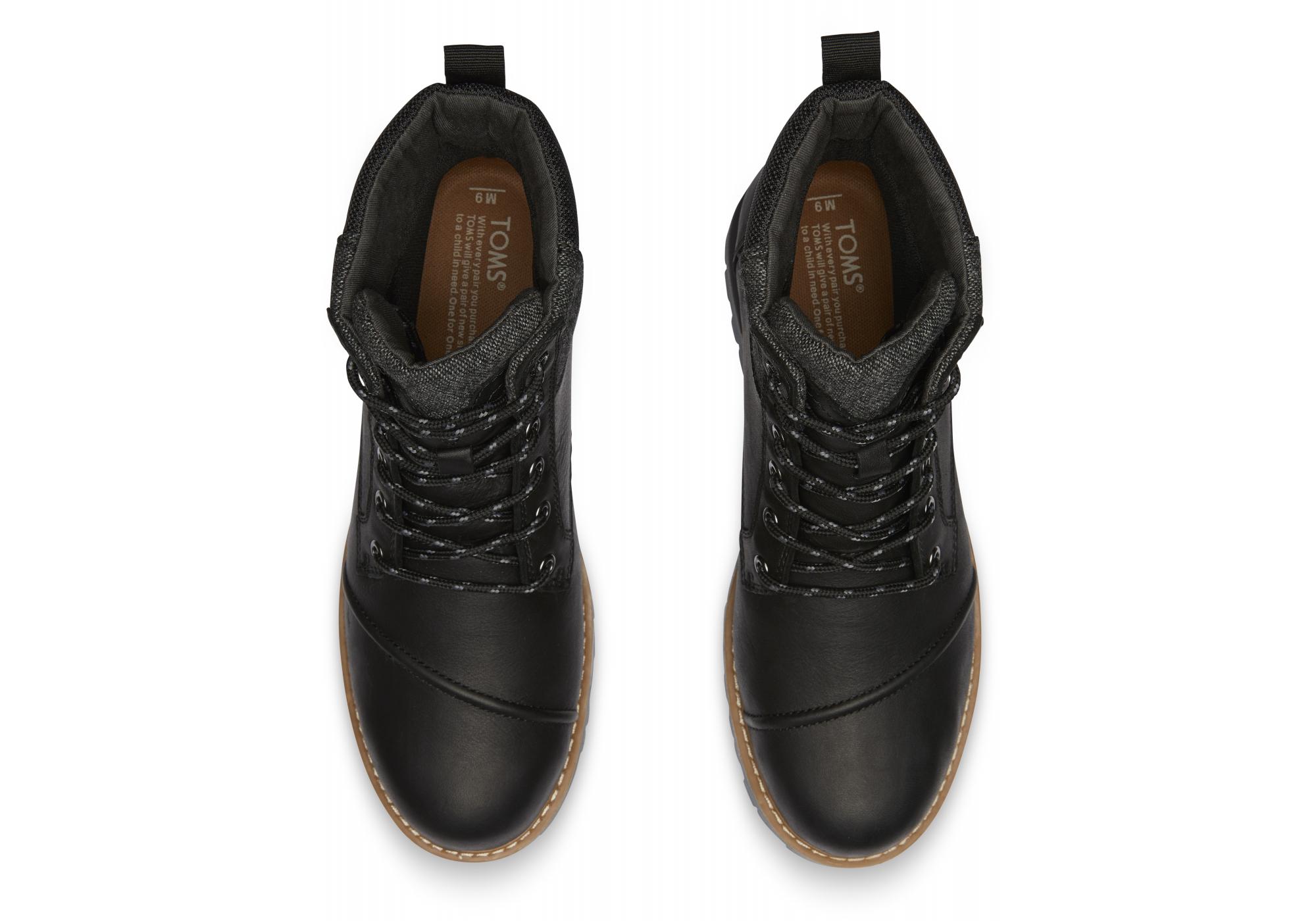 Pánske čierne členkové topánky TOMS Leather Ashland 272796cc38e