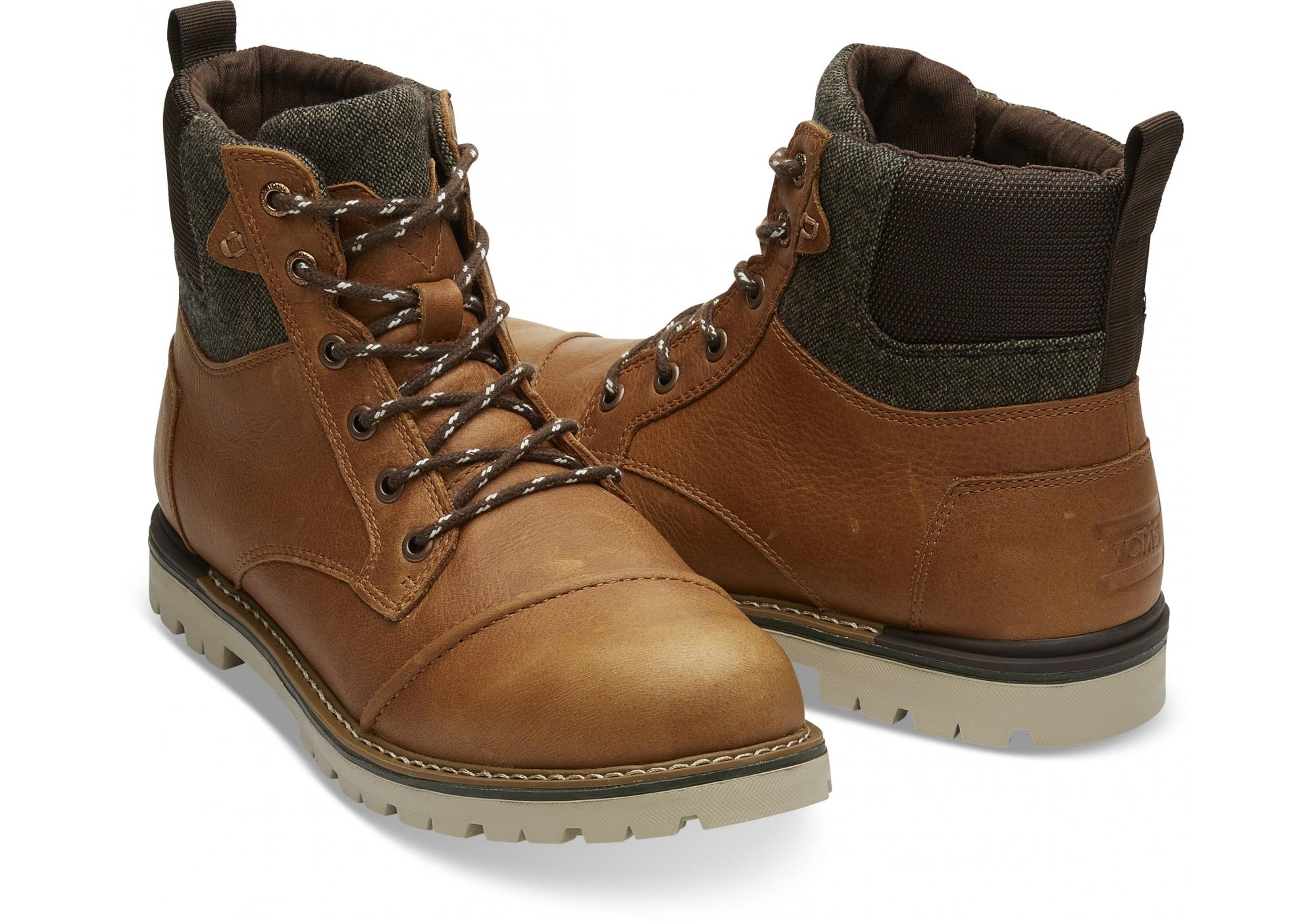 Pánske hnedé členkové topánky TOMS Leather Ashland a0eadd781af