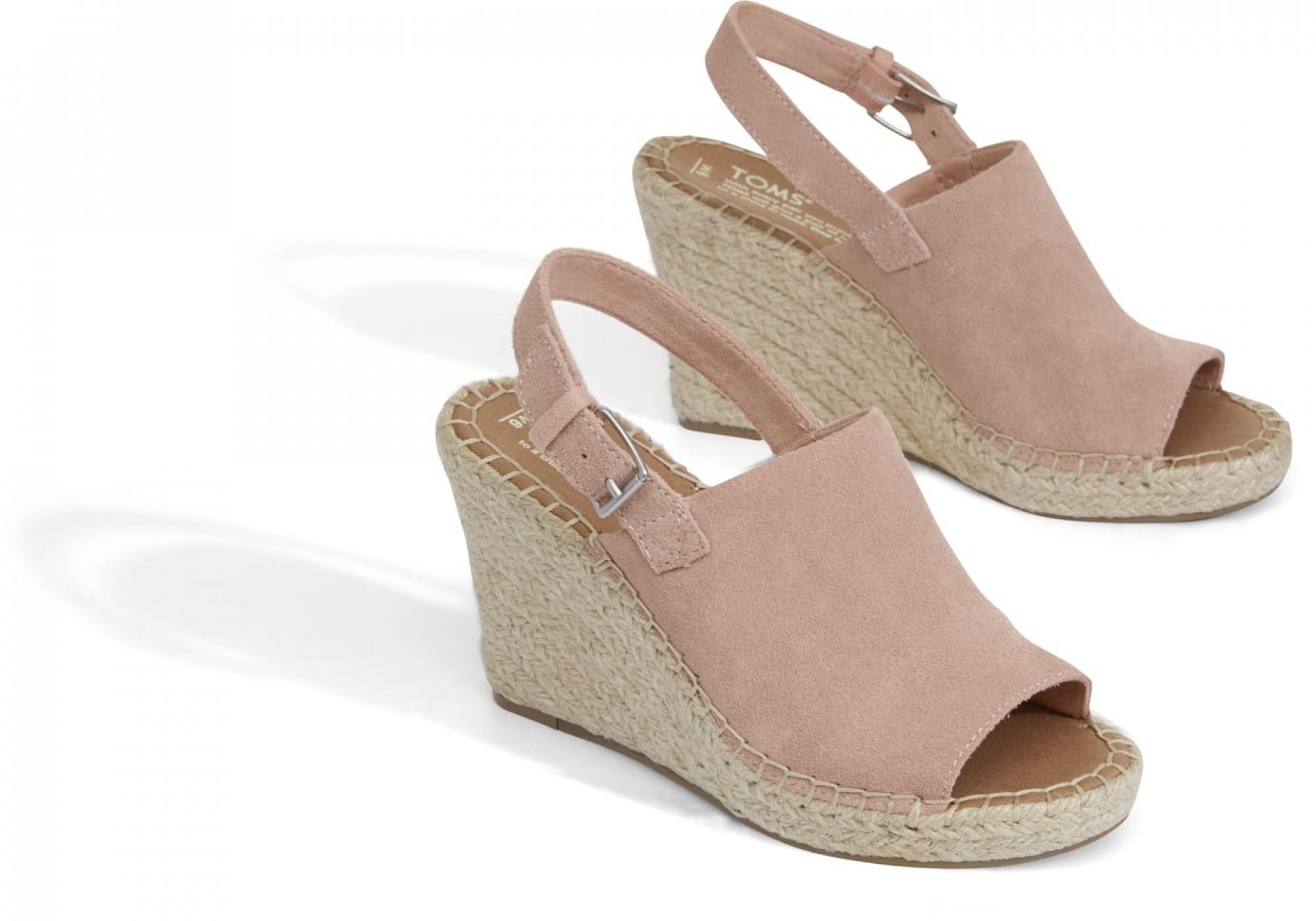 cc0b6a3476aa9 dámské růžové sandálky na klínku TOMS Suede Monica | Urbanlux