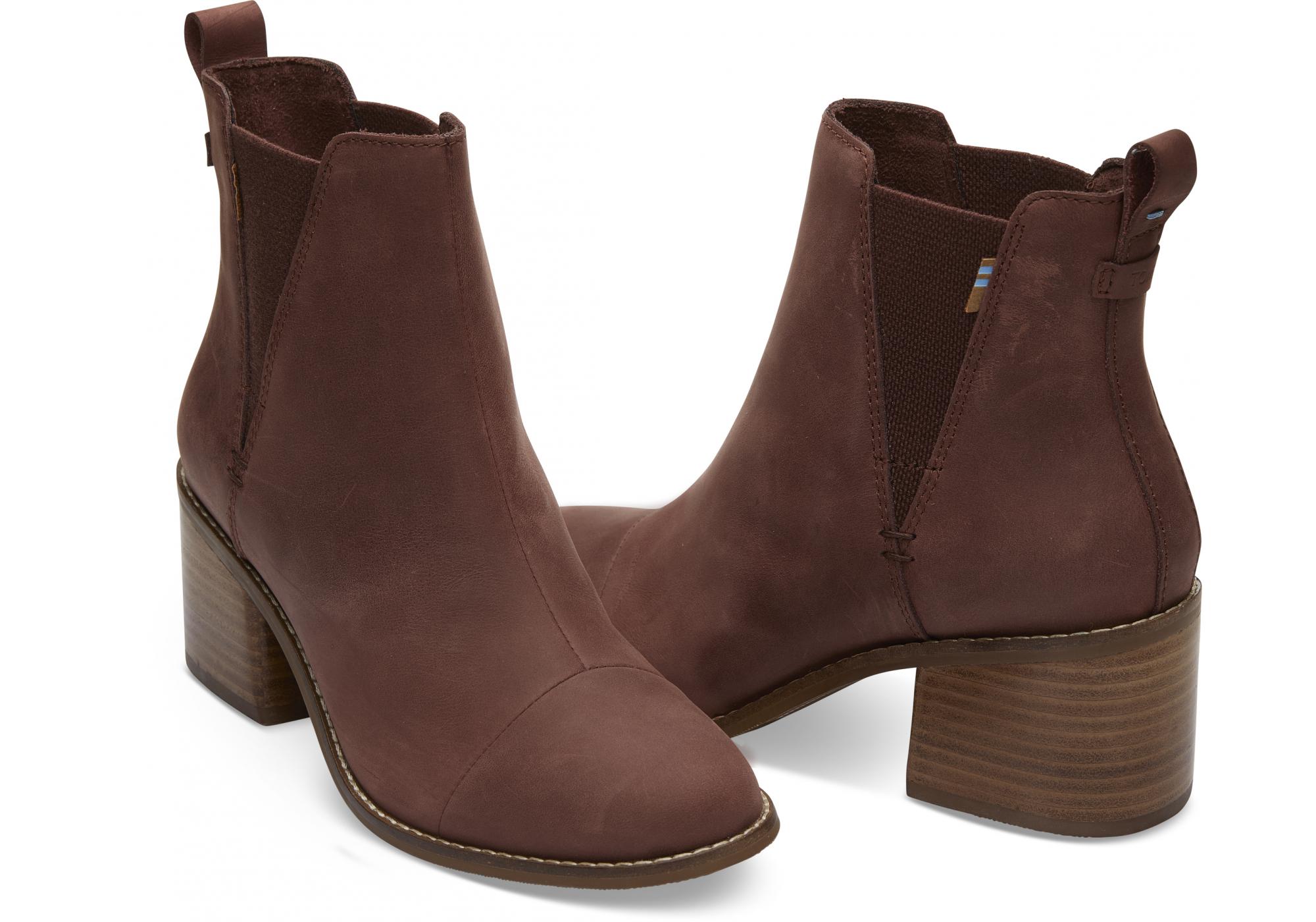 99b2e91df Dámske hnedé topánky na podpätku TOMS Leather Esme