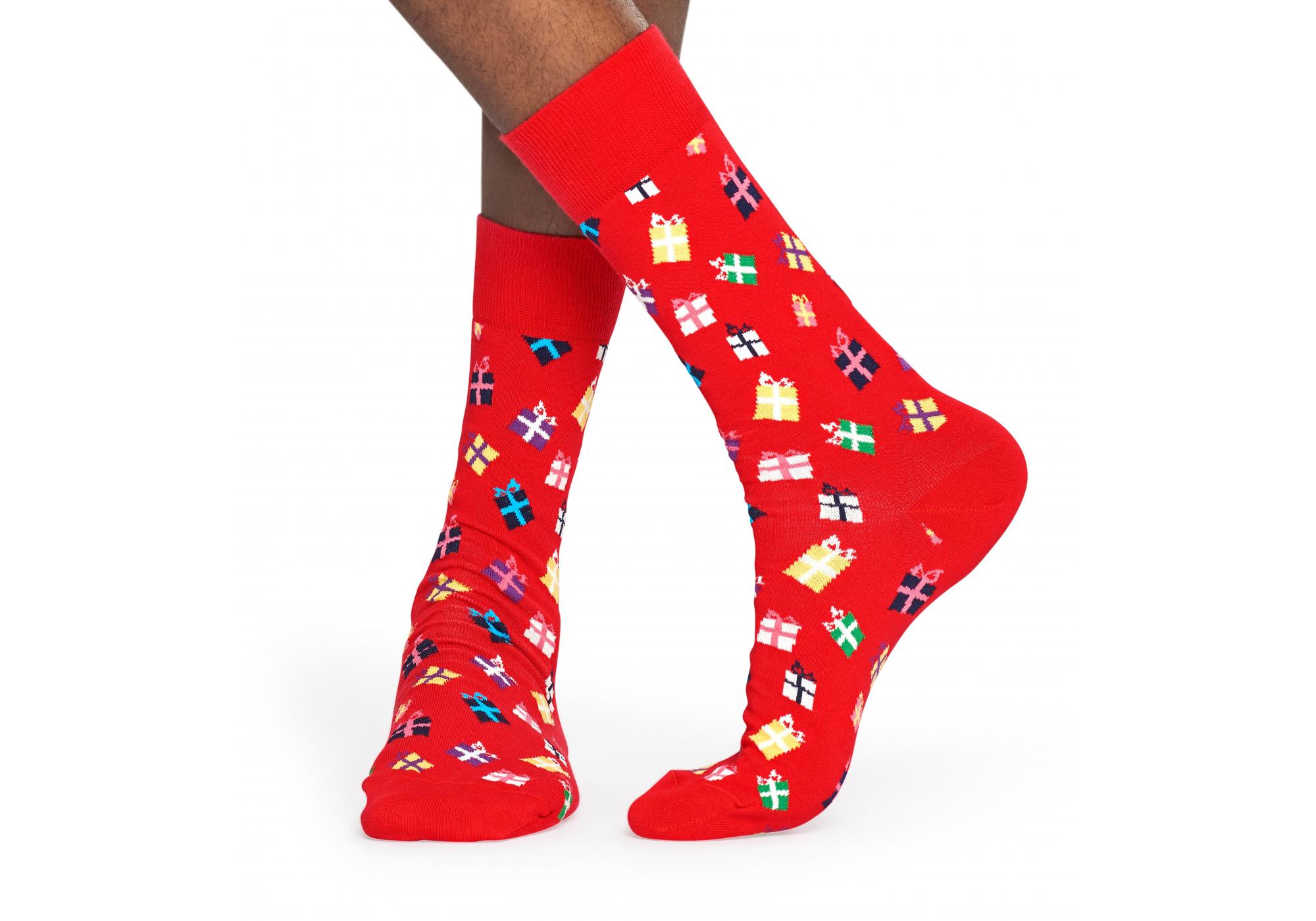 Červené ponožky Happy Socks s farebnými darčekmi 5d39ea916e