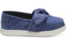 Detské modré TOMS Bow Seasonal Classics Tiny Alpargatas