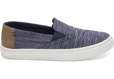 Detské modré TOMS Striped Youth Luca Slip-on