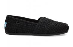 Dámske čierne Toms Crochet Lace Alpargatas