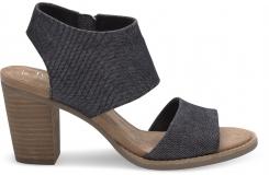 Dámske čierne topánky na podpätku TOMS Denim Majorca Cutout