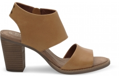 Dámske hnedé boty na podpätku TOMS Leather Majorca Cutout
