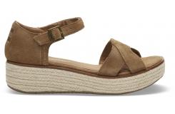 Dámske hnedé sandálky na platforme TOMS Suede Harper