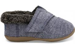 Detské modré papuče TOMS Tiny Chambray