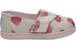 Detské béžové TOMS Strawberries Seasonal Classics Tiny Alpargata