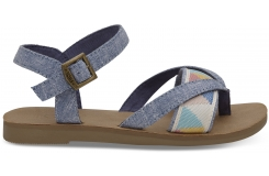 Detské modré sandálky TOMS Tribal Lexie