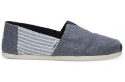 Pánske modré TOMS Linen Stripe Seasonal Classics Alpargatas