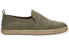 Pánske zelené TOMS Washed Canvas Deconstructed Alpargatas