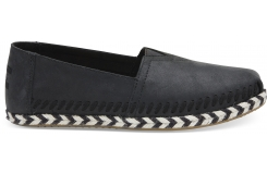 Dámske čierne TOMS Leather Seasonal Classics Alpargatas