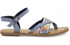 Dámske modré sandálky TOMS ChambrayTribal Lexie