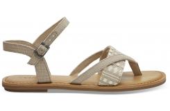 Dámske béžové sandálky TOMS Canvas Tribal Lexie