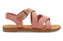 069b4fdf5490c Detské ružové sandálky TOMS Pink Shimmer Canvas Youth Sicily Sandals
