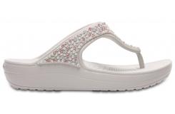 Crocs Sloane Embellished Flip Pearl White W8