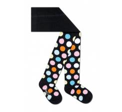 Dětské černé punčocháče Happy Socks s barevnými puntíky