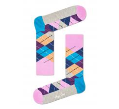 Ružovo-béžové ponožky Happy Socks s károvaným vzorom Argyle