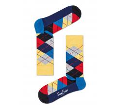 Žlto-sivé ponožky Happy Socks s károvaným vzorom Argyle