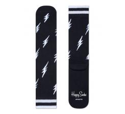 Čierne ponožky Happy Socks s bielymi bleskami, vzor Flash // kolekcia Athletic