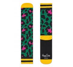 Zelené ponožky Happy Socks s farebným vzorom Leopard // kolekcia Athletic
