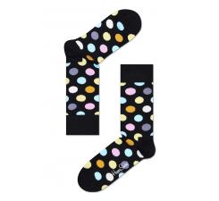 Čierne ponožky Happy Socks s farebnými bodkami, vzor Big Dot