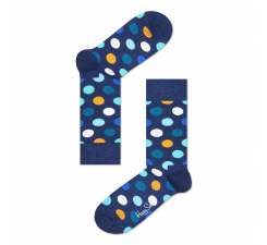 Modré ponožky Happy Socks s farebnými bodkami, vzor Big Dot
