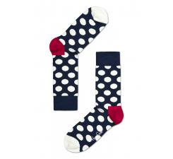 Modré ponožky Happy Socks s bielymi bodkami, vzor Big Dot