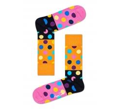 Oranžovo-ružové ponožky Happy Socks s farebnými bodkami, vzor Big Dot Block