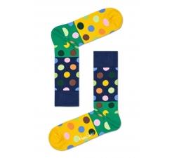 Modro-zelené ponožky Happy Socks s farebnými bodkami, vzor Big Dot Block