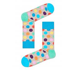Béžové ponožky Happy Socks s farebnými bodkami, vzor Big Dot