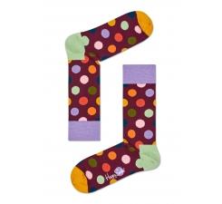 Žlté ponožky Happy Socks s farebnými bodkami, vzor Big Dot