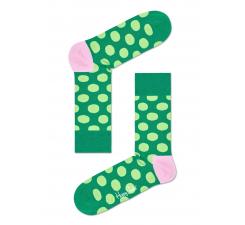 Zelené ponožky Happy Socks so svetlozelenými bodkami, vzor Big Dot