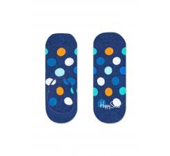 Modré nízké vykrojené ponožky Happy Socks s farebnými bodkami, vzor Big Dot