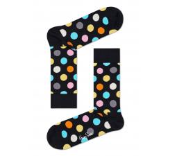 Čierne ponožky Happy Socks s farebnými bodkami, vzor Big Dot - 2009 // 10 YEARS ANNIVERSARY