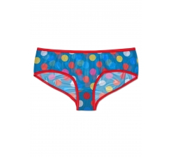 Modré mesh nohavičky Happy Socks s farebnými bodkami, vzor Big Dot