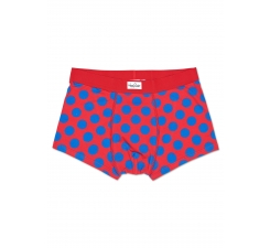 Červené boxerky Happy Socks s modrými bodkami, vzor Big Dot