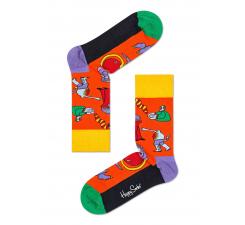 Oranžové ponožky Happy Socks s farebnými príšerami, vzor Monsters x The Beatles
