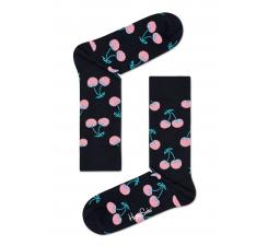 Čierne ponožky Happy Socks s ružovými čerešničkami, vzor Cherry