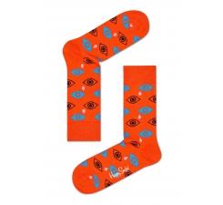 Oranžové ponožky Happy Socks s farebnými očami a slzami, vzor Cry Baby