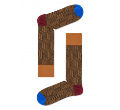 Hnedé ponožky Happy Socks, vzor Cube // kolekcia Dressed