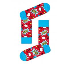 Červeno-modré ponožky Happy Socks s komiksovým vzorom, vzor Dad