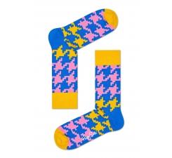 Farebné (žlté) ponožky Happy Socks s kohúťou stopou, vzor Dogtooth