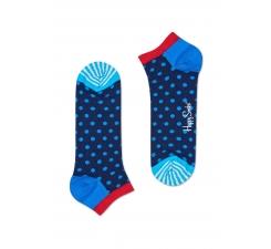 Nízké modré ponožky Hapy Socks s tyrkysovými bodkami, vzor Dot