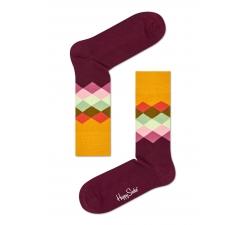 Žlto-vínové ponožky Happy Socks s  farebnými kosoštvorcami, vzor Faded Diamond