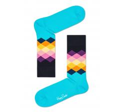 Tyrkysovo-čierne ponožky Happy Socks s farebnými kosoštvorcami, vzor Faded Diamond